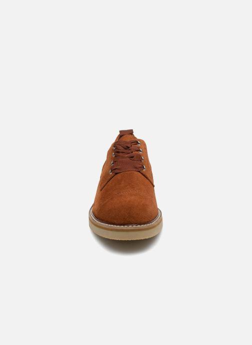 Chaussures à lacets Monoprix Premium DERBY CROUTE DE CUIR Marron vue portées chaussures