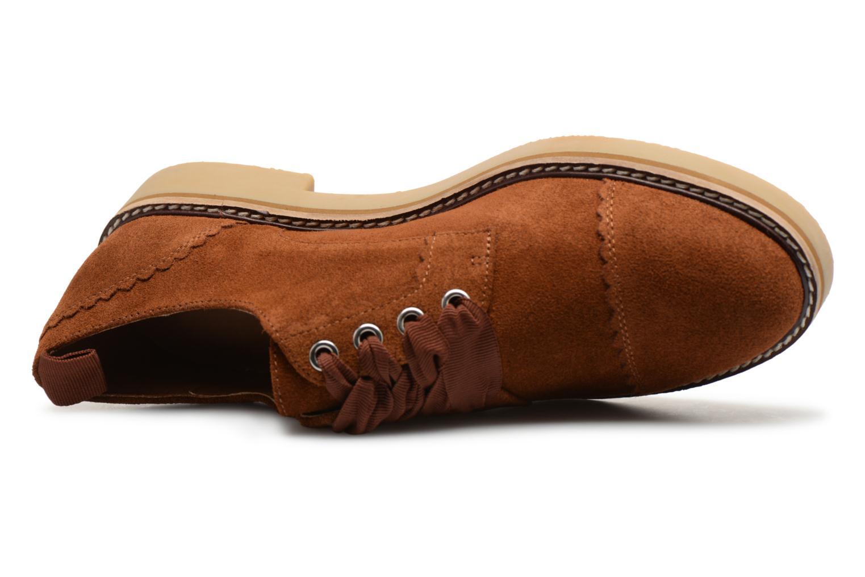 Chaussures à lacets Monoprix Premium DERBY CROUTE DE CUIR Marron vue gauche
