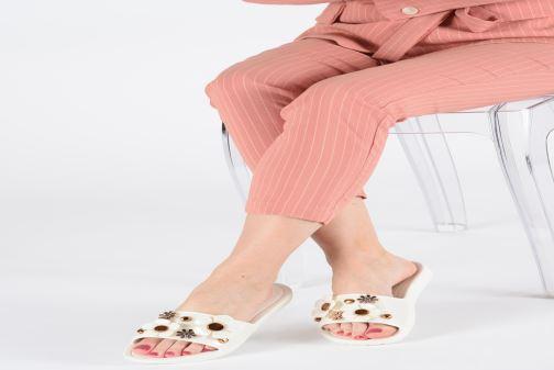Mules et sabots Crocs CrocsSloane Metal Blooms Slide W Blanc vue bas / vue portée sac