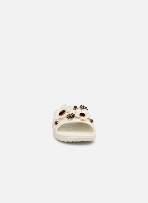Mules et sabots Crocs CrocsSloane Metal Blooms Slide W Blanc vue portées chaussures