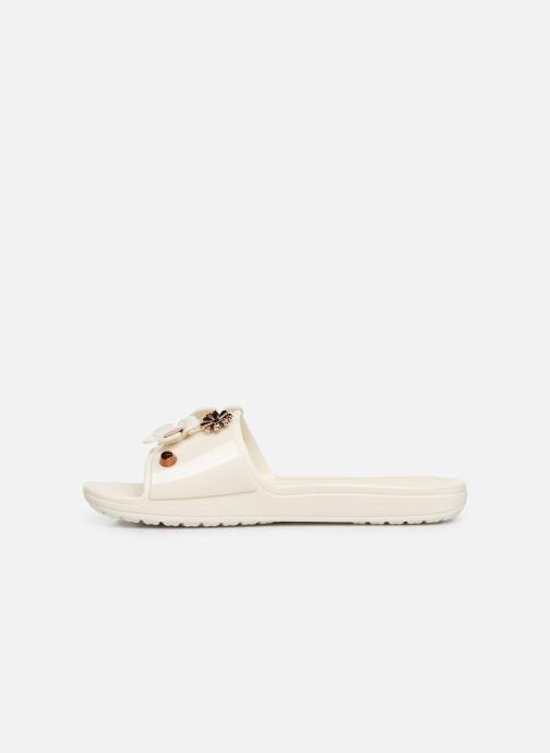 Mules et sabots Crocs CrocsSloane Metal Blooms Slide W Blanc vue face