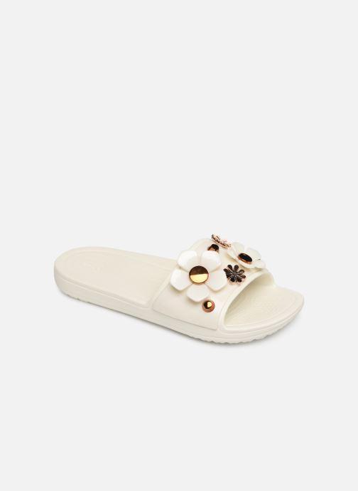Mules et sabots Crocs CrocsSloane Metal Blooms Slide W Blanc vue détail/paire