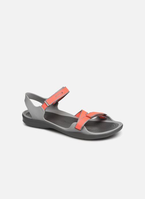 Sandalias Crocs Swiftwater Webbing Sandal W Gris vista de detalle / par