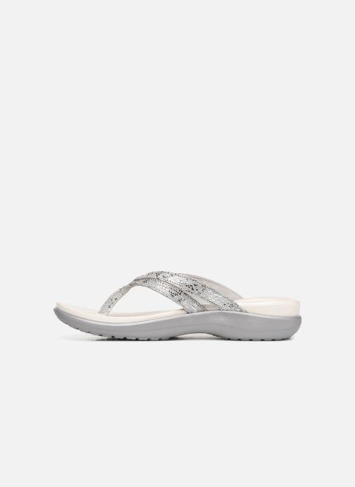 Zehensandalen Crocs Capri Strappy Flip W silber ansicht von vorne