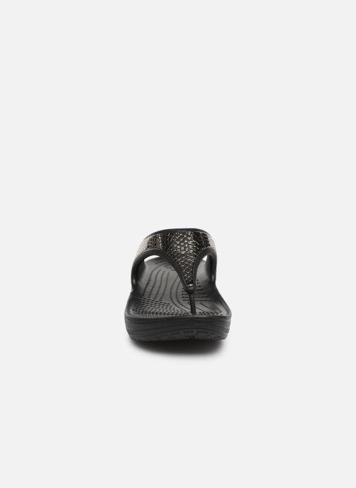 Tongs Crocs Crocs Sloane MetalTxt Flip W Noir vue portées chaussures