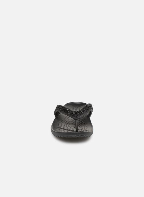 Zehensandalen Crocs Kadee II Embellished Flip W schwarz schuhe getragen