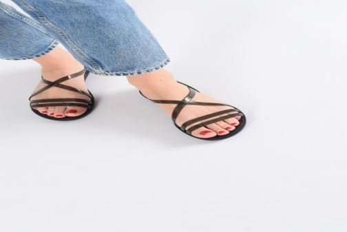 Sandals Crocs Isabella Strappy Sandal W Black view from underneath / model view