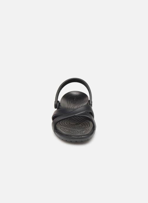 Zuecos Crocs Meleen CrossBand Sandal W Negro vista del modelo
