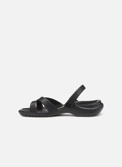 Zuecos Crocs Meleen CrossBand Sandal W Negro vista de frente