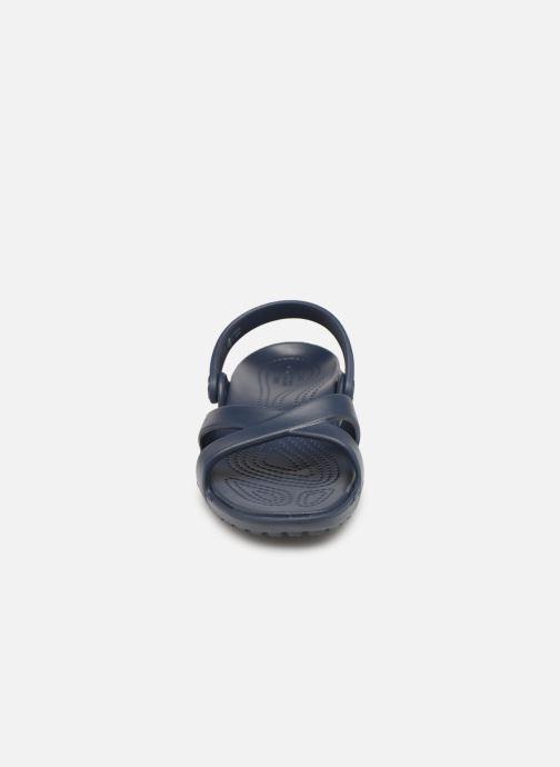 Mules et sabots Crocs Meleen CrossBand Sandal W Bleu vue portées chaussures