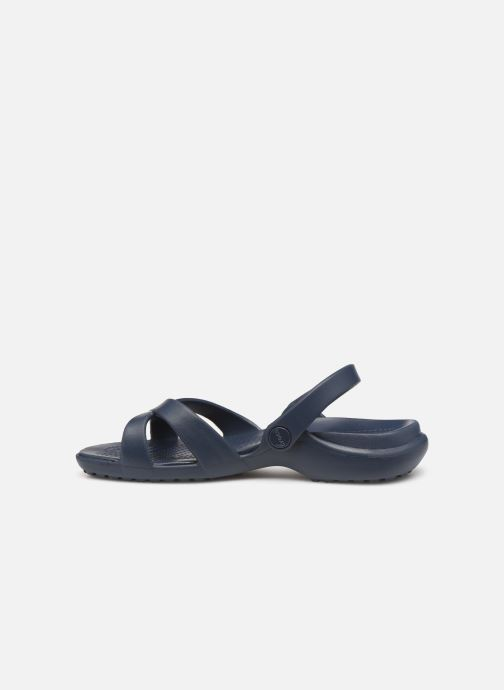 Zuecos Crocs Meleen CrossBand Sandal W Azul vista de frente