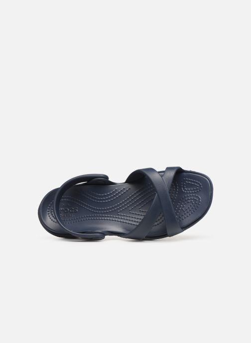Zuecos Crocs Meleen CrossBand Sandal W Azul vista lateral izquierda