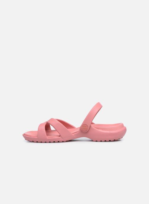 Zuecos Crocs Meleen CrossBand Sandal W Rosa vista de frente
