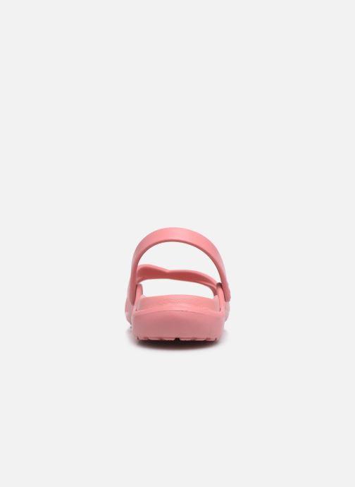 Zuecos Crocs Meleen CrossBand Sandal W Rosa vista lateral derecha