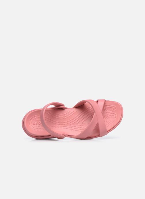 Zuecos Crocs Meleen CrossBand Sandal W Rosa vista lateral izquierda