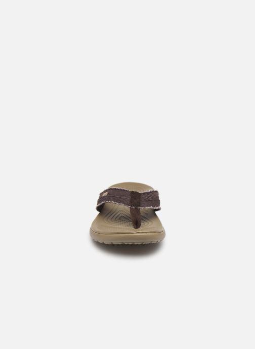 Tongs Crocs Santa Cruz Canvas Flip M Marron vue portées chaussures