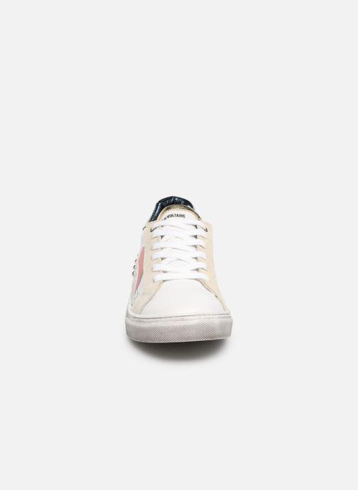 Baskets Zadig & Voltaire BASKET COEUR X19006 Blanc vue portées chaussures