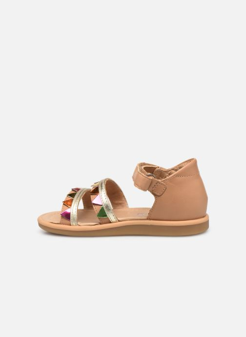 Sandals Shoo Pom Tity Flag Bronze and Gold front view