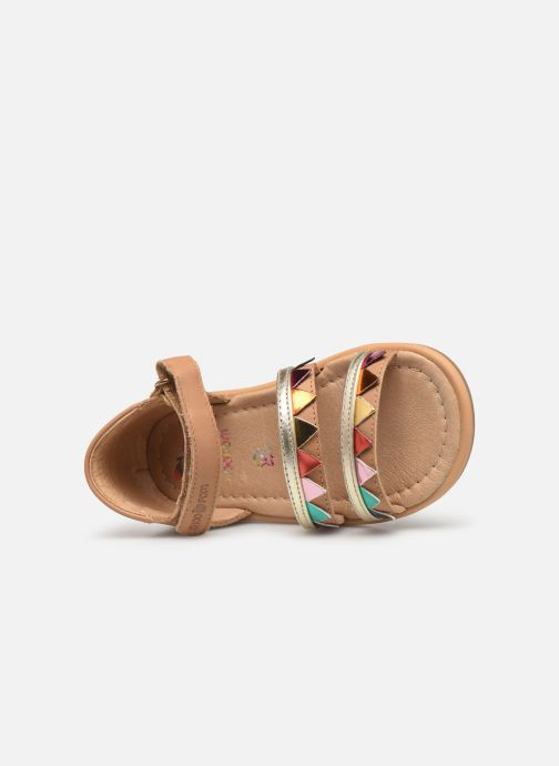 Sandals Shoo Pom Tity Flag Bronze and Gold view from the left
