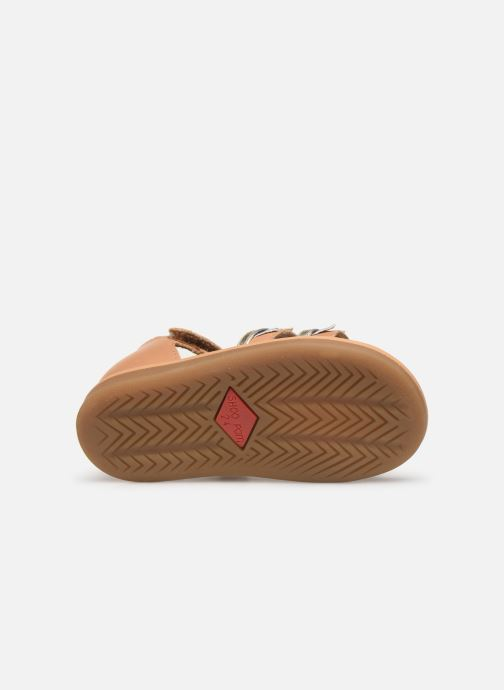 Sandals Shoo Pom Tity Flag Bronze and Gold view from above