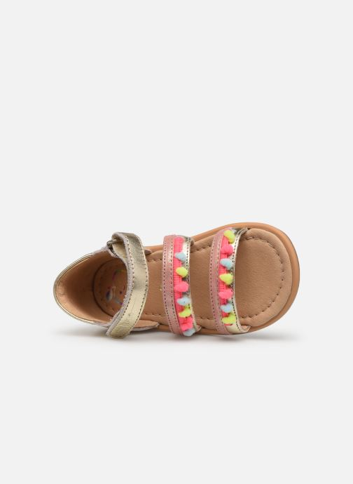 Sandals Shoo Pom Tity New Pompon Bronze and Gold view from the left