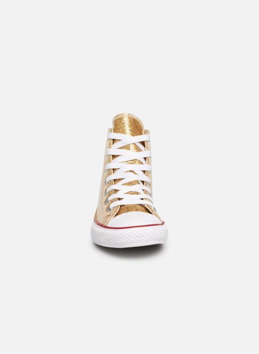 Baskets Converse Chuck Taylor All Star Hi Sport Sparkle Or et bronze vue portées chaussures