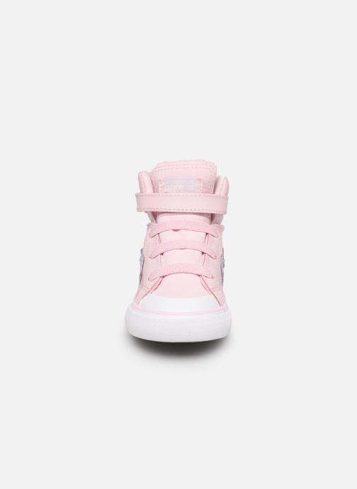 Baskets Converse Pro Blaze Strap Hi Tipped Back Court Leather E Rose vue portées chaussures