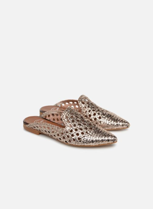 Zuecos Made by SARENZA UrbAfrican Mules #1 Oro y bronce vistra trasera