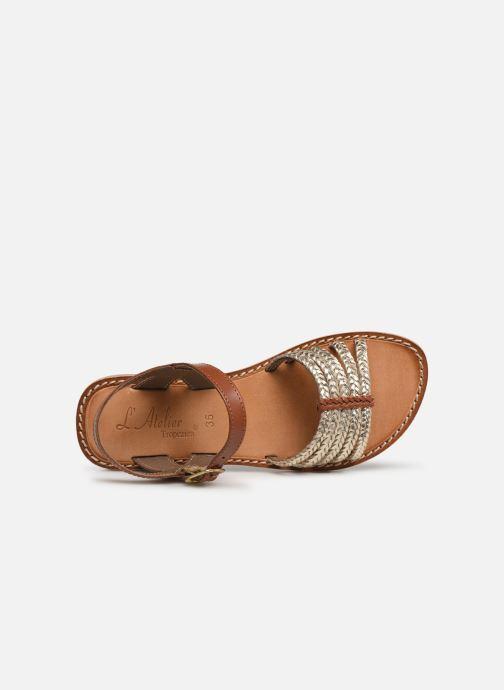 Sandales et nu-pieds L'Atelier Tropézien Joséphine Or et bronze vue gauche
