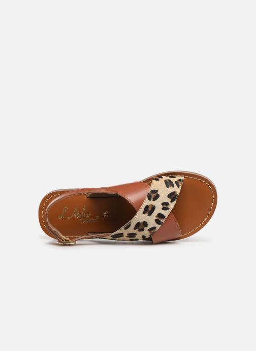 Sandales et nu-pieds L'Atelier Tropézien Agathe Marron vue gauche