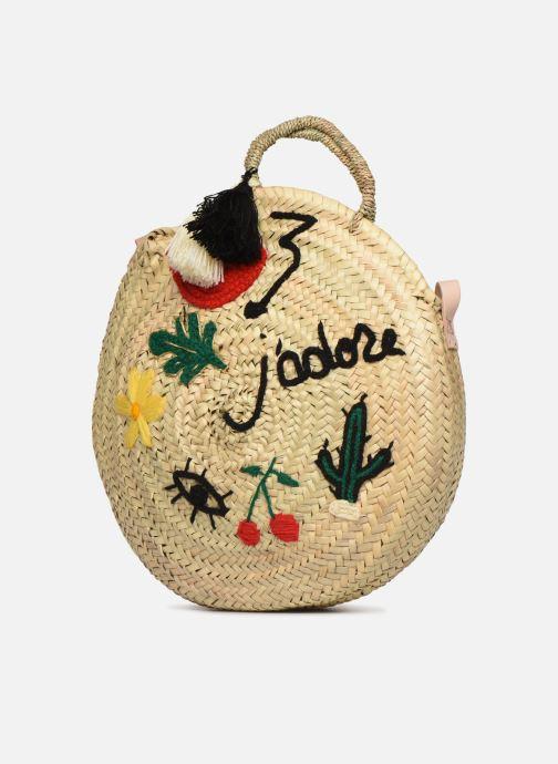 Handtaschen Etincelles Panier rond bandoulière et anses Pompons Patchs beige schuhe getragen