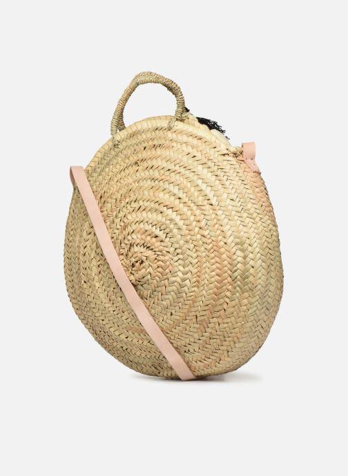 Handtaschen Etincelles Panier rond bandoulière et anses Pompons Patchs beige ansicht von rechts