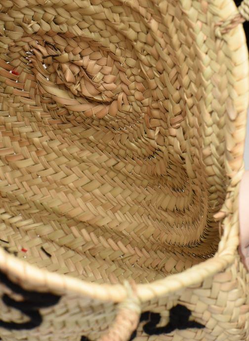 Sacs à main Etincelles Panier rond bandoulière et anses Pompons Patchs Beige vue derrière