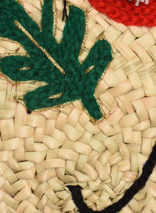 Borse Etincelles Panier rond bandoulière et anses Pompons Patchs Beige immagine sinistra