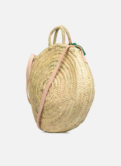 Handtaschen Etincelles Panier rond bandoulière et anses Pompons Feuilles beige ansicht von rechts