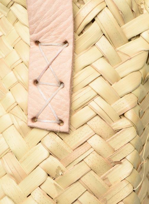 Handtassen Etincelles Panier rond bandoulière et anses Pompons Feuilles Beige links