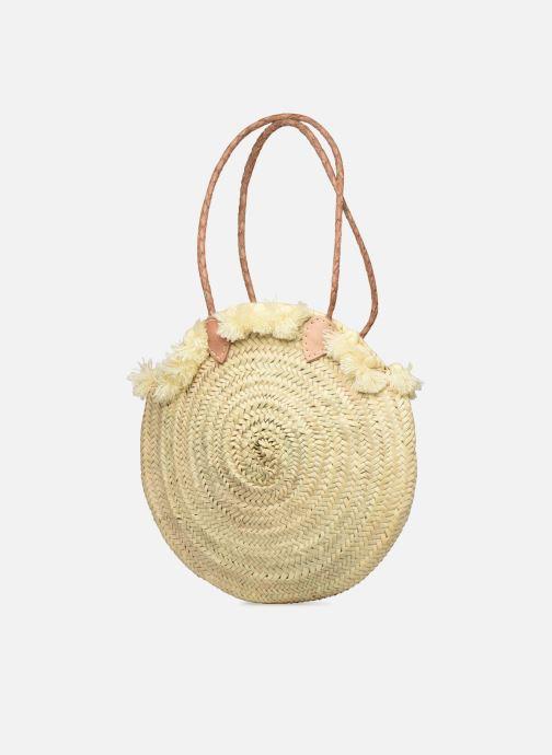 Handtaschen Etincelles Panier pompoms double anses beige schuhe getragen