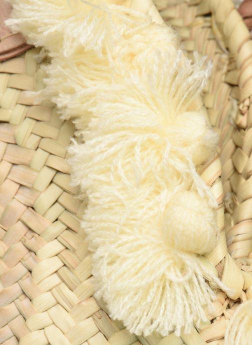 Handtaschen Etincelles Panier pompoms double anses beige ansicht von links