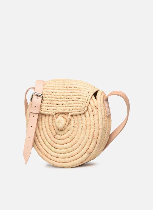Handtaschen Etincelles Sac rond raphia beige schuhe getragen