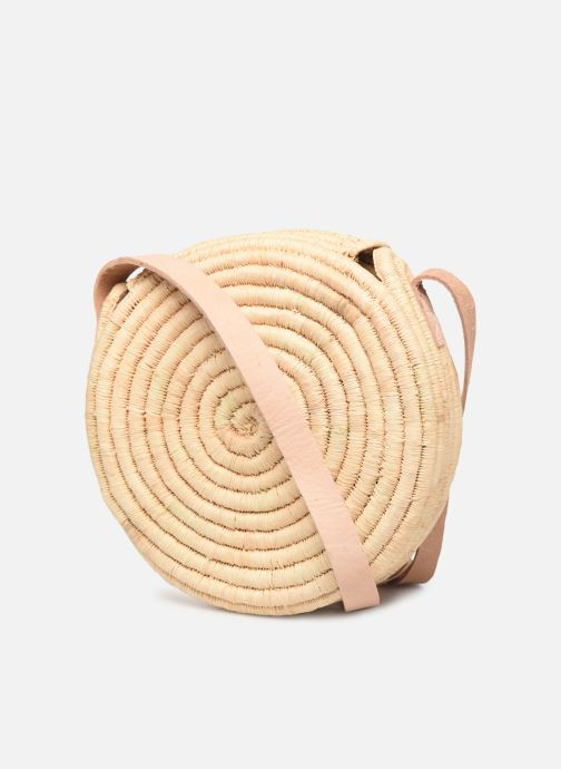 Handtaschen Etincelles Sac rond raphia beige ansicht von rechts