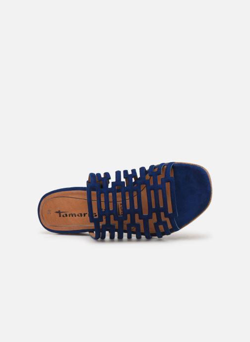 Zuecos Tamaris Daphne Azul vista lateral izquierda