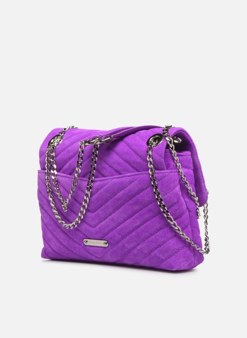 Handbags Rebecca Minkoff EDIE XBODY FLUO SUEDE Purple view from the right