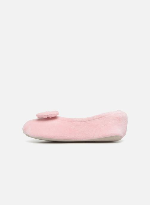 Chaussons Isotoner Ballerine Velours Grand Nœud Kids Rose vue face