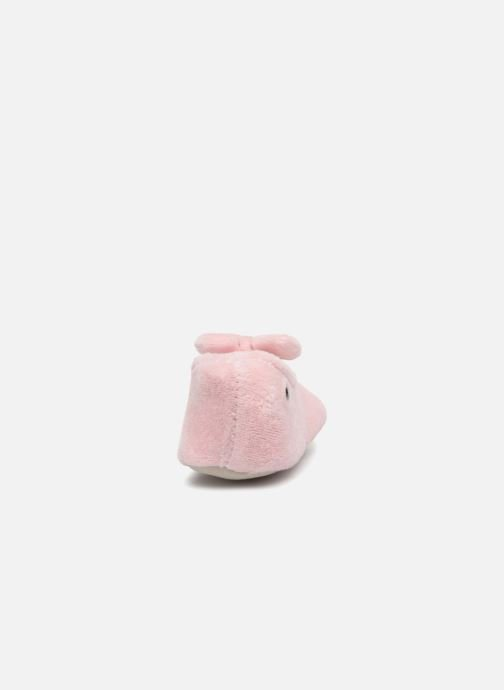 Slippers Isotoner Ballerine Velours Grand Nœud Kids Pink view from the right