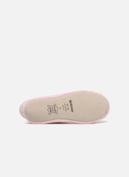 Slippers Isotoner Ballerine Velours Grand Nœud Kids Pink view from above