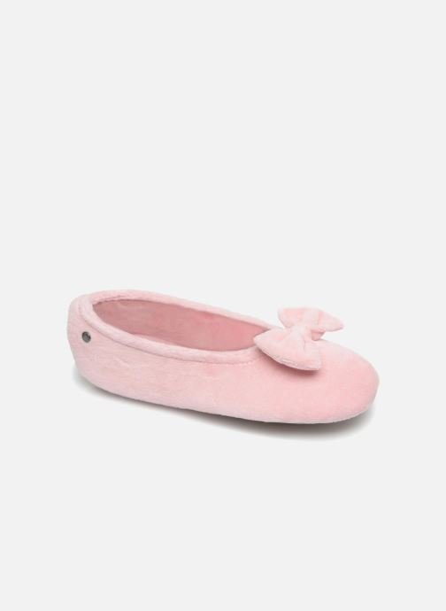 Slippers Isotoner Ballerine Velours Grand Nœud Kids Pink detailed view/ Pair view