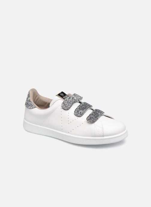 Baskets Victoria Tenis Velcros Glitter Blanc vue détail/paire