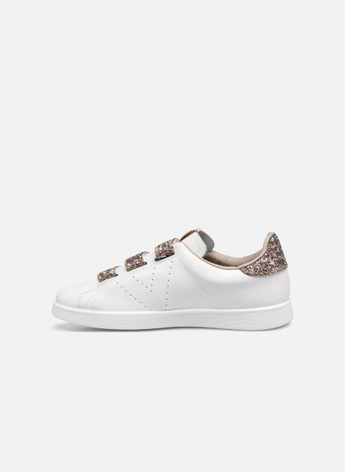 Baskets Victoria Tenis Velcros Glitter Blanc vue face
