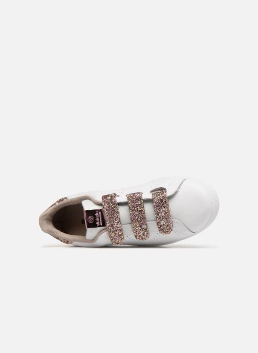 Baskets Victoria Tenis Velcros Glitter Blanc vue gauche