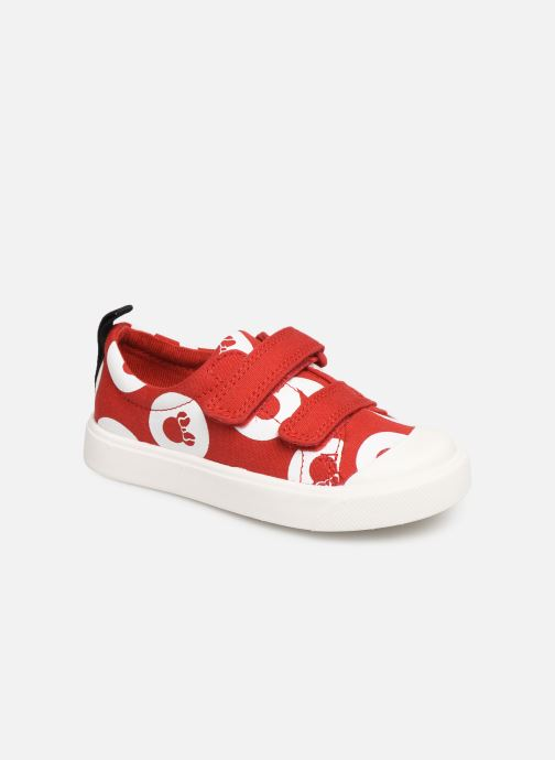 Trainers Clarks City PolkaLo x Minnie Red detailed view/ Pair view